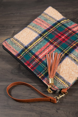 {Last Chance} Silia Tartan with Tassel and Detachable Strap ~ Beige *FINAL SALE* - Be You Boutique