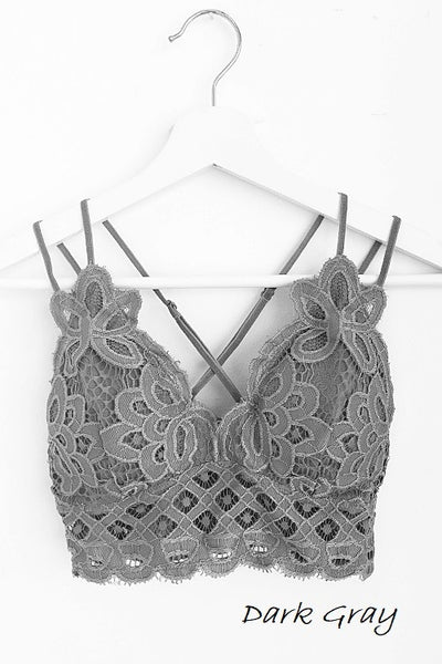 *NEW* I'm So Pretty Crochet Lace Bralette ~ Dark Grey - ShopBeYouBoutique