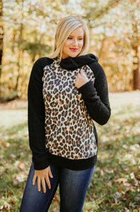 Natasha Teddy Bear Fleece Animal Print Double Hoodie ~ Black