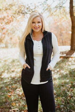 {Last Chance} Betty Sherpa Vest ~ Black