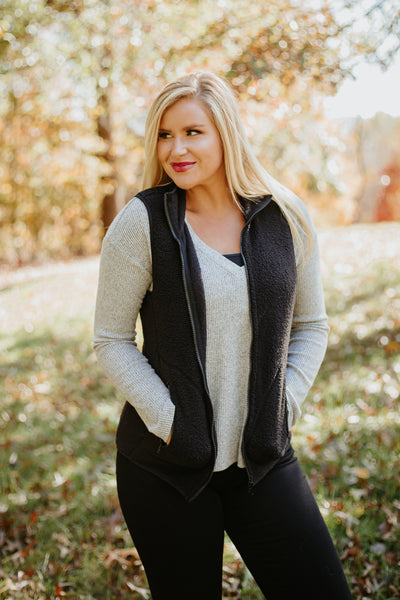 {Last Chance} Betty Sherpa Vest ~ Black *FINAL SALE* - Be You Boutique