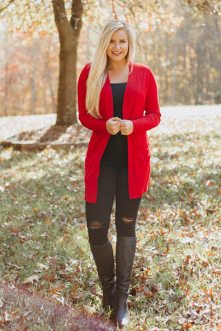 *New* Elsie Everyday Long Knit Cardigan with Pockets ~ Red