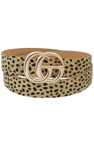 *New* GiGi Slim Leather Belt ~ Beige Animal Print - Be You Boutique