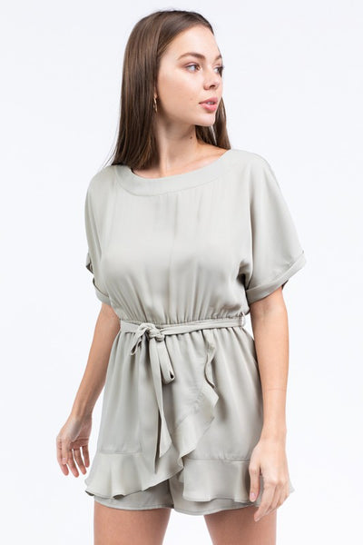 {Last Chance} Spring Days Ruffle Wrap Romper ~ Sage *FINAL SALE*