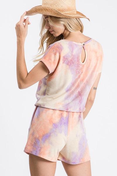 {Last Chance} Maddie Distresssed Tie Dye Romper *FINAL SALE*