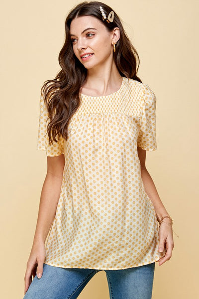 *NEW* Bria Polka Dot Smocked Top