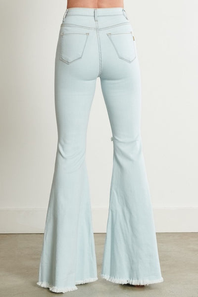 Vibrant Miu Jenny Distressed Flare Denim Jeans