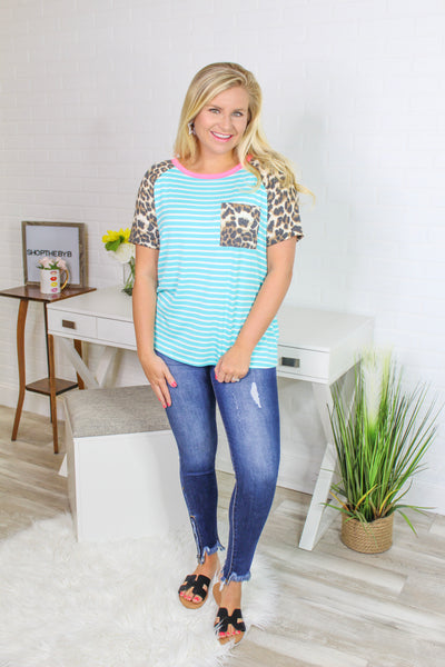 *NEW* Kimberly Stripe Top with Leopard Pocket ~ Mint
