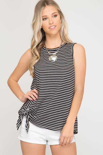 {Last Chance} Striped Is Right Striped Knit Top ~ Black *FINAL SALE*