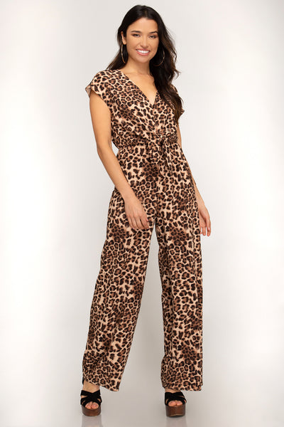 Mya Animal Print Wide Leg Jumpsuit ~ Camel
