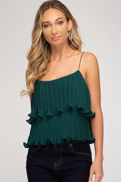 {Last Chance} Sabrina Faye Pleated Woven Cami Top ~ Sea Green *FINAL SALE* - Be You Boutique