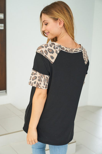 {Last Chance} Emmie Black and Leopard Top *FINAL SALE*