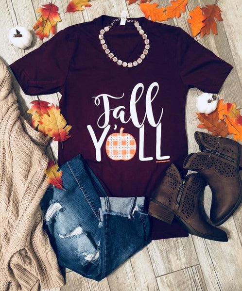 *NEW* Fall Y'all Graphic Tee ~ Burgundy - ShopBeYouBoutique