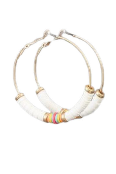 Gold Hoops with White Details