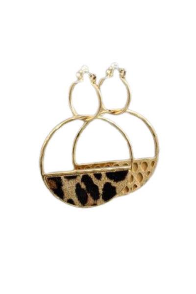 Leopard Textured Half Circle Drop Earring