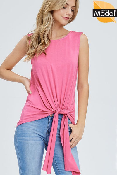 {Last Chance} Kyleigh Ruched Detail Sleeveless Top ~ Rosewood **FINAL SALE**