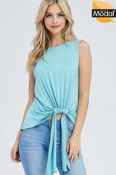 Kyleigh Ruched Detail Sleeveless Top ~ Peacock