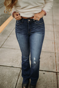 {LAST CHANCE}  Mica Slightly Distressed Straight Leg Jeans ~ Medium Wash
