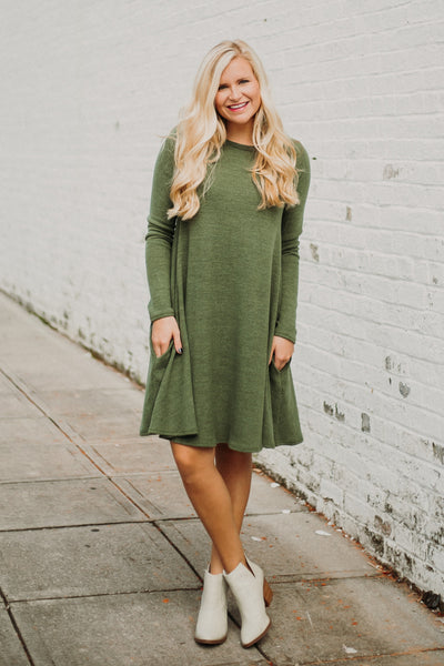 {Last Chance} Kat Shift Dress ~ Olive