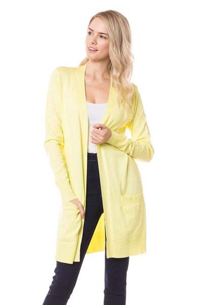*New* Elsie Everyday Long Knit Cardigan with Pockets ~ Lemon
