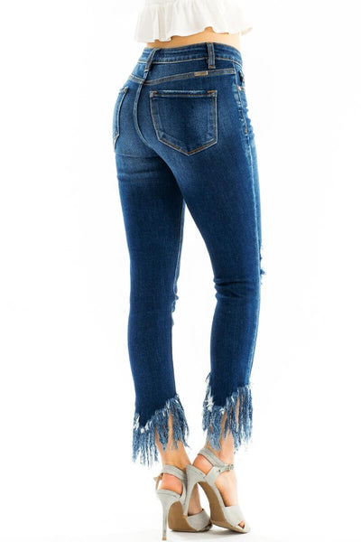 {Last Chance} Kancan Gemma Mid Rise Ankle Skinny Jeans ~ Dark Wash *FINAL SALE* - Be You Boutique