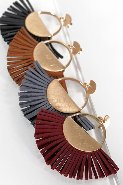 *New* I'm A Fan Faux Leather and Brushed Metal Dangle Earrings