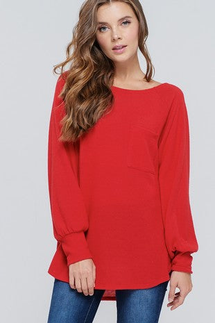 {LAST CHANCE} Too Too Cute Puff Sleeve Sweater ~ Red