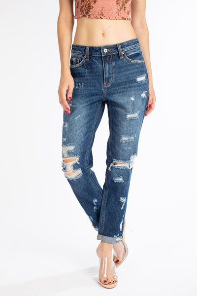 Kancan Alice High Rise Cropped Mom Jeans