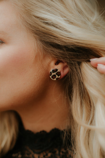 *NEW* Be A Leopard Stud Earrings ~ Taupe & Black