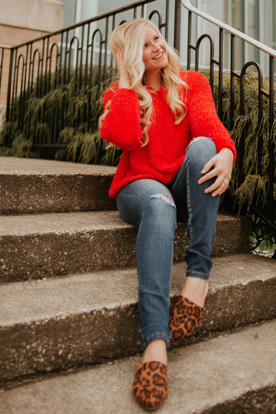 {LAST CHANCE} Be Mine Round Neck Sweater ~ Red