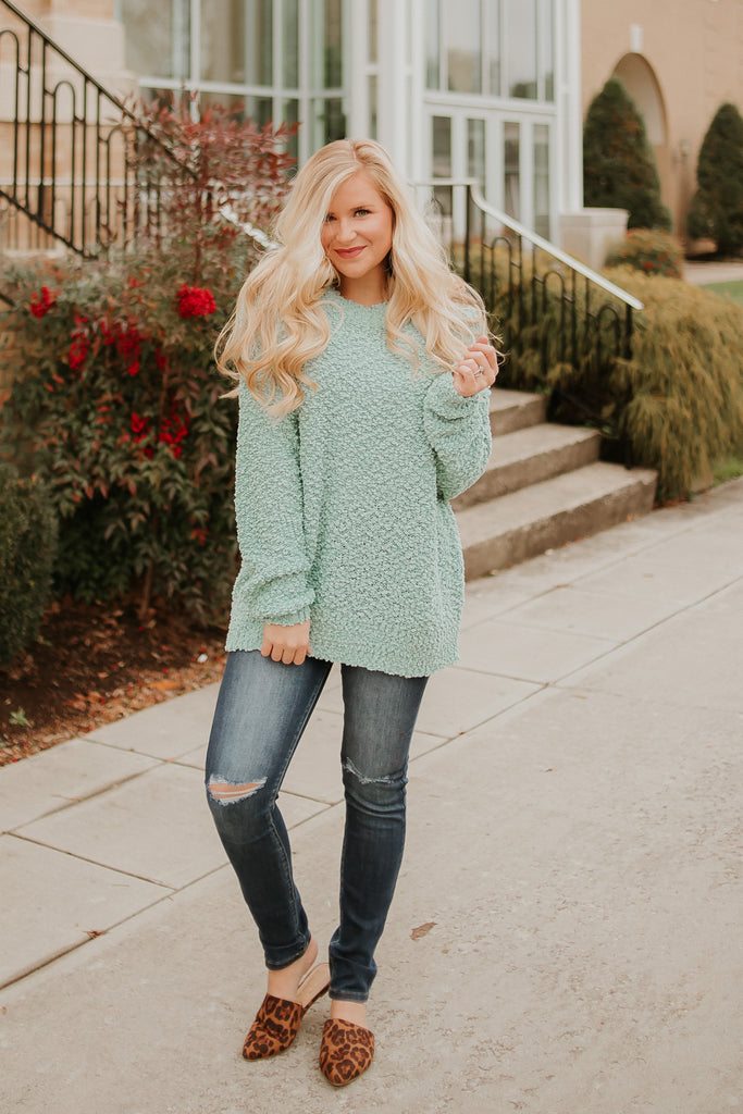 {LAST CHANCE} Pull On Comfort Sweater ~ Sage