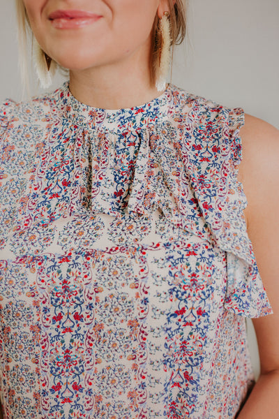If Only Sleeveless Ruffled Top ~ Off White & Berry