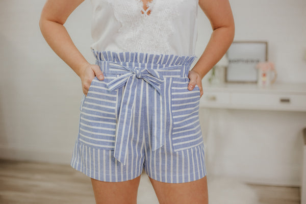 {Last Chance} Matilda Stripe Shorts ~ Lt Blue *FINAL SALE* - Be You Boutique