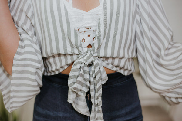 {LAST CHANCE} Shake Your Kimono Striped Tie Top ~ Grey