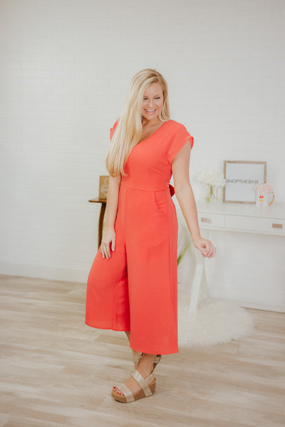Pretty As A Picture Jumpsuit ~ Coral