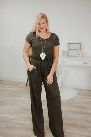 {Last Chance} In Control Jumpsuit ~ Charcoal