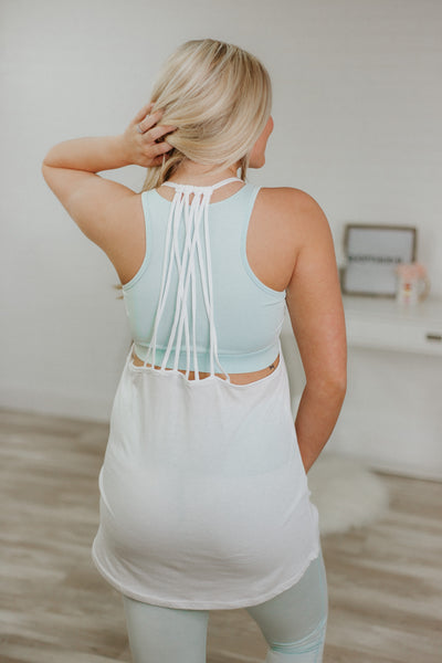 {LAST CHANCE} Waterfall Muscle Tank ~ White *FINAL SALE* - Be You Boutique