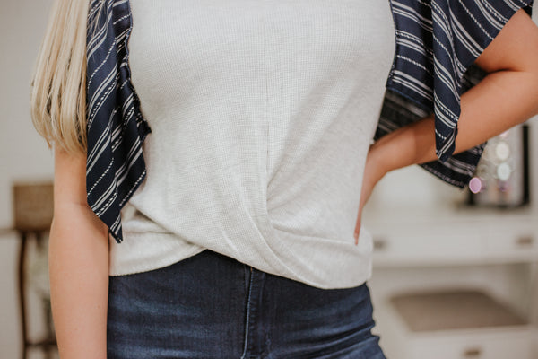 {Last Chance} Kimmie Contrast Top ~ H Grey & Ivory