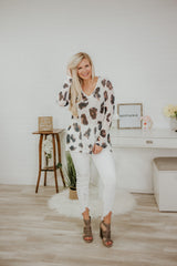 Amelia Leopard Slub Hacci Top ~ Off White