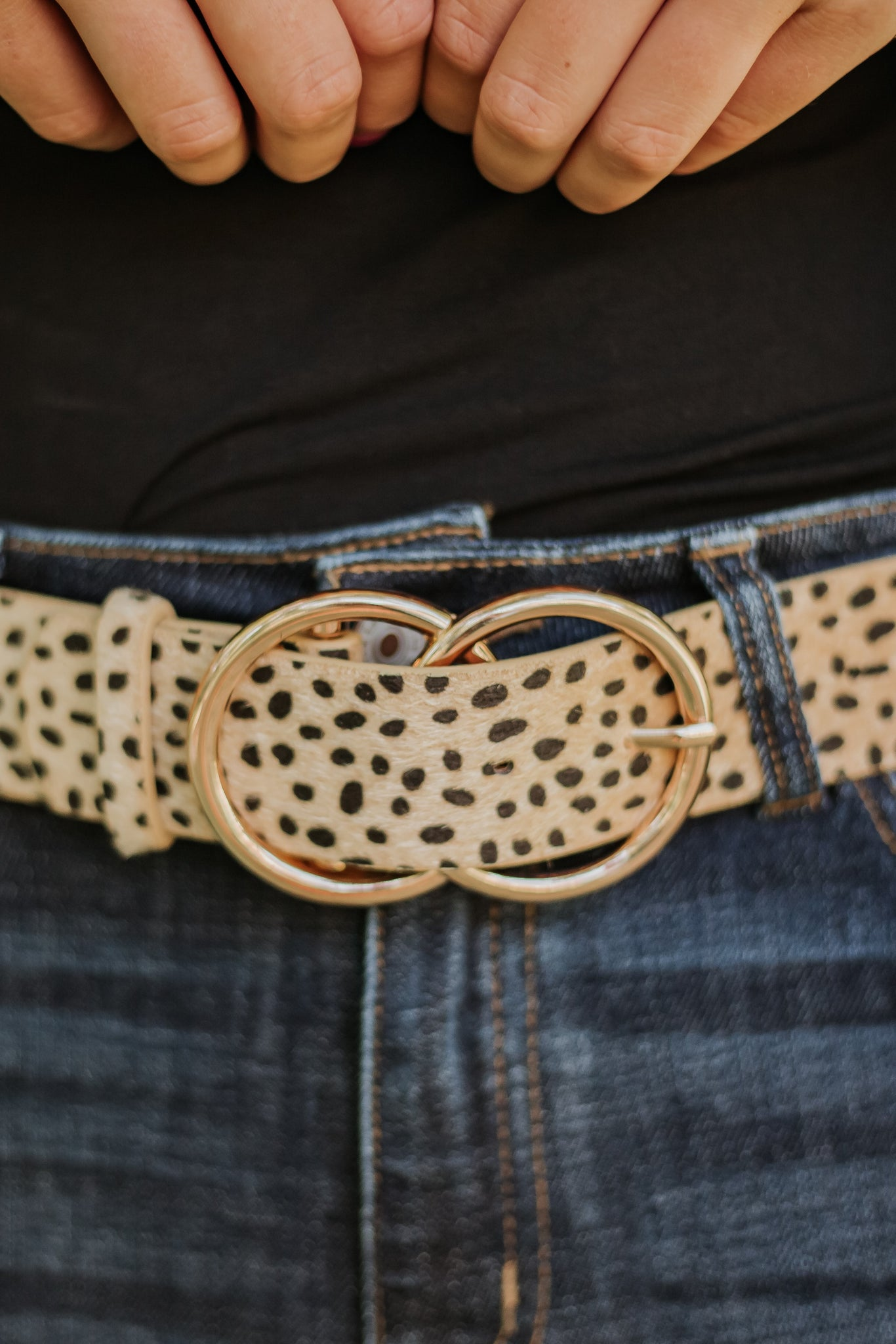 Bianca Vegan Leather Belt ~ Natural Animal Print