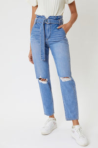 Kancan Blossom High Rise Distressed Belted Mom Jeans