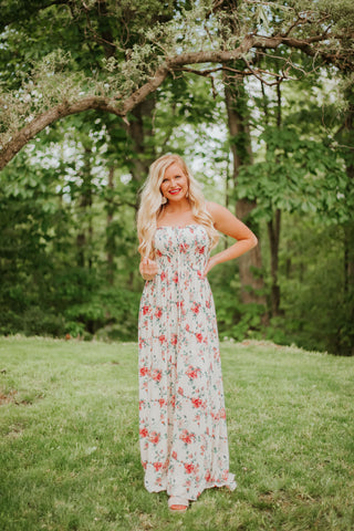 Florence Floral Maxi Dress ~ Ivory