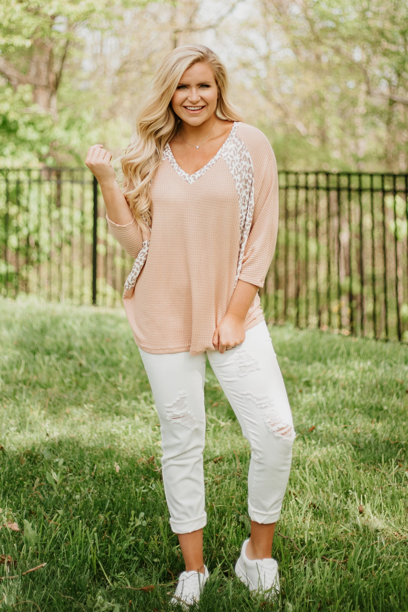 Peachy Color Block Leopard Top