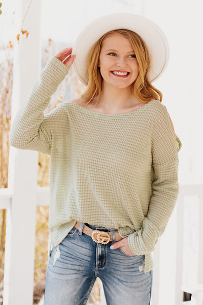 {Last Chance} Emma Cold Off Shoulder Waffle Knit Top **FINAL SALE**