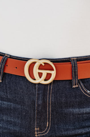GIGI Textured Faux Leather Belt ~ Cognac Worn Gold