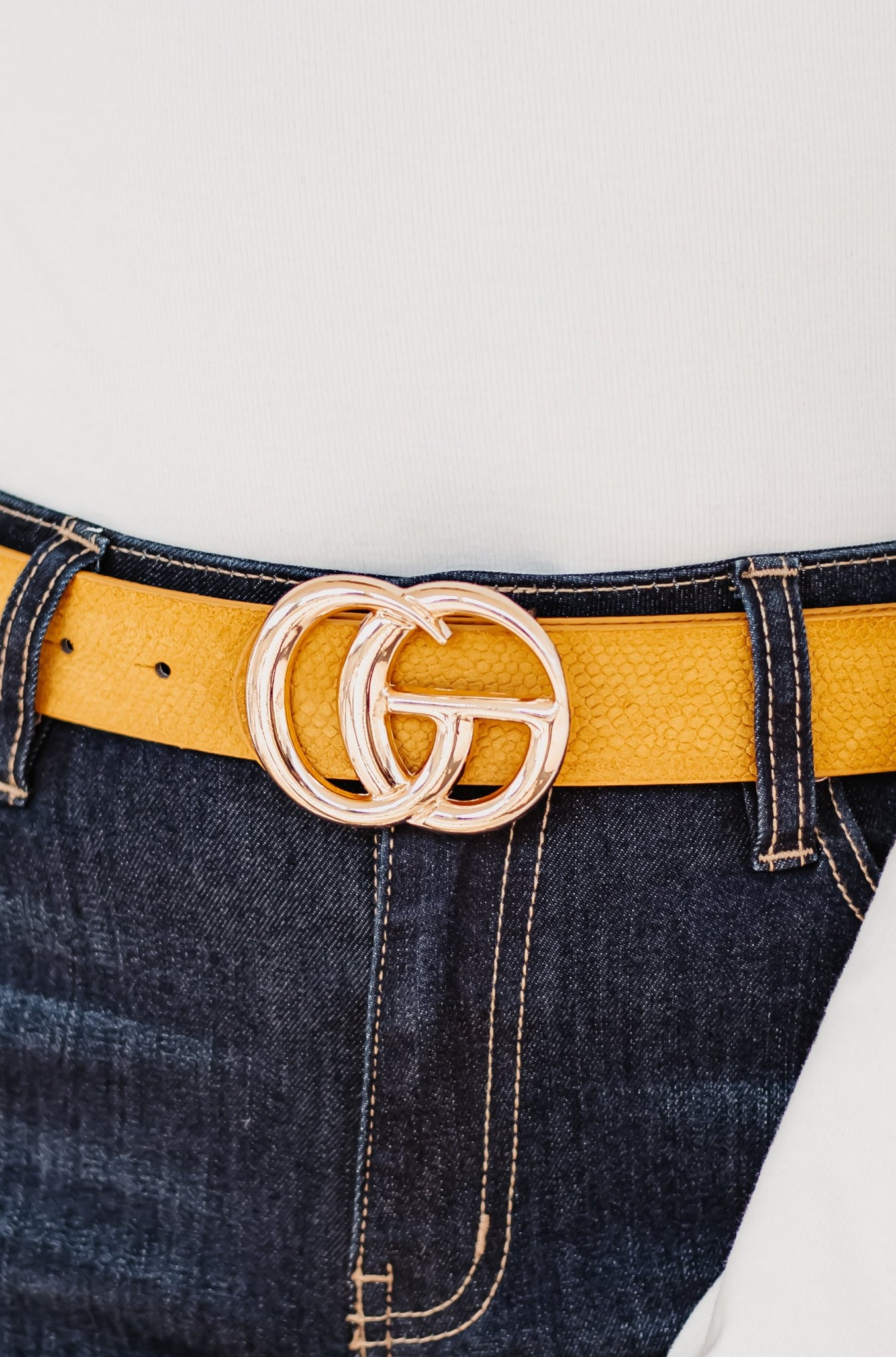GIGI Velvety Animal Print Vegan Leather Belt ~ Mustard