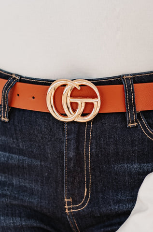 GIGI Textured Faux Leather Belt ~ Cognac