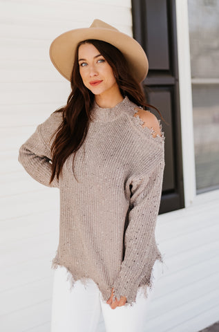 *NEW* Scarlett Distressed Cold Shoulder Sweater