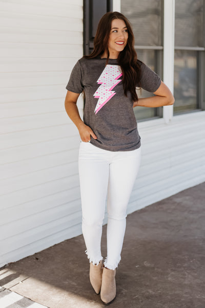 {Last Chance} Lightening Bolt With Hearts Graphic Tee *FINAL SALE*