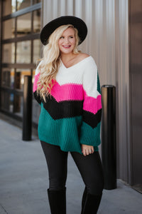 Dakota Chevron Color Block Sweater
